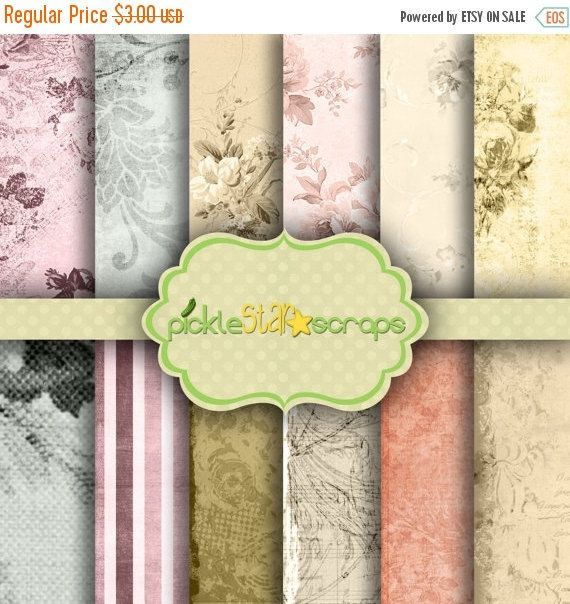 ON SALE Classic Romantic Garden Theme Papers  by PickleStarScraps