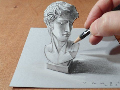 "3D drawing David of Michelangelo. Trick art on paper. Mixed media.<br />Materials used: <br />Pastell paper: light gray.  <br />HB graphit pencil (Derwent) <br />Grey markers: Letraset PROMARKER cool grey <br />Prismacolor colored pencils.<br />Black and white charcoal pencil.<br />Soft eraser.<br />Music: Heavy - Huma-Huma,<br />For sale: <a href=""http://vamosart.deviantart.com/gallery/"" target=""_blank"" rel=""nofollow"">http://vamosart.deviantart.com/gallery/</a><br />Készítette: Vámos…"