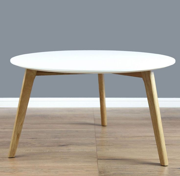 Mmilo SPIO Round Coffee Table Side Table With Solid Oak Legs In Diameter    WHITE