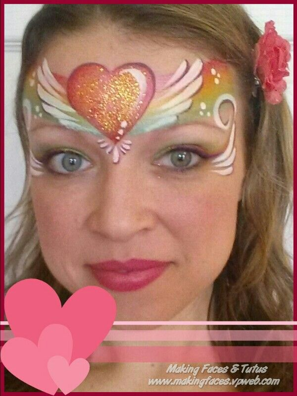 Valentine face painting inspired by Marcella Murad