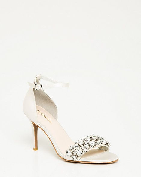 Jeweled Satin Ankle Strap Sandal