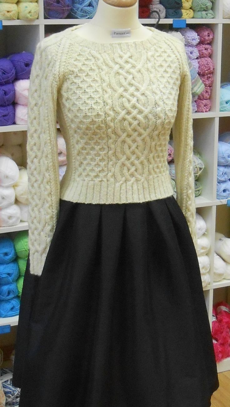 Tradition with a twist! A fitted aran 'gansey' designed using Studio Donegal 100% wool. Love it!