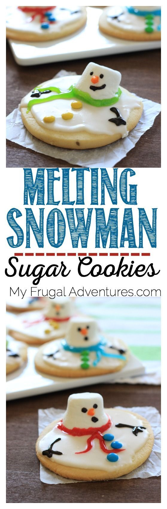Melting Snowman Sugar Cookies- these are so adorable and so easy to make (not to mention delicious!)  Guaranteed to be the hit of your party or a perfect cookie to leave for Santa on Christmas Eve.