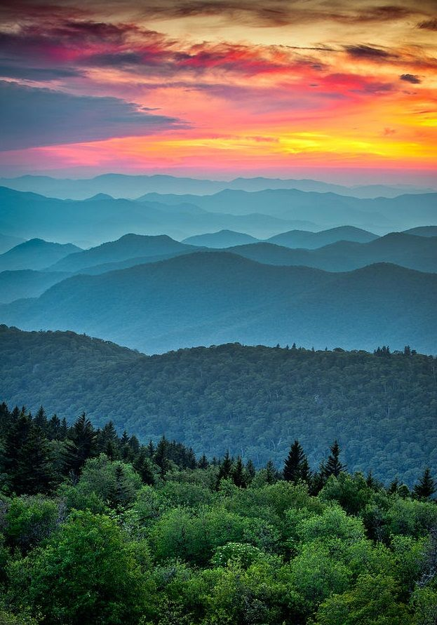 Blue Ridge Parkway Sunset in North Carolina - The Great Blue Yonder Photo by Dave Allen