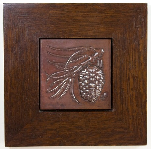 Framed Arts and Crafts Pine Cone Hammered Copper Tile | eBay-Vollman WoodworkingCones Hammer, Art And Crafts, Copper Tile, Pine Cones Crafts, Ebay Vollman Woodworking, Craftsman Elements, Arts And Crafts, Pine Cone Crafts, Crafts Pine