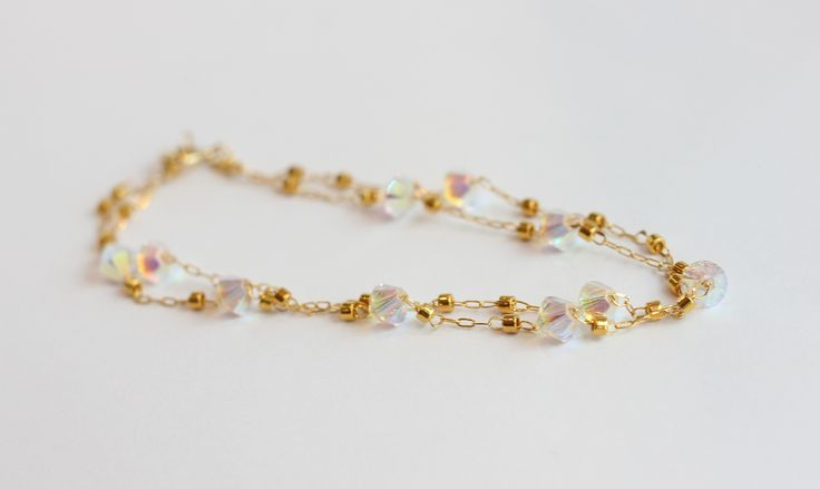 "::CHERYL DELICE DOUBLE BRACELET:: 4mm bicone Swarovski crystals and delicas--shown in ""AB Combo"" ($46)"