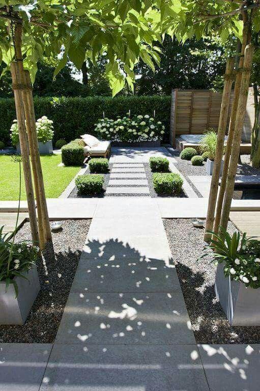 große quadratische Fliesen mit Kies #Moderngardendesign – Garten Ideen & Bad Ideen