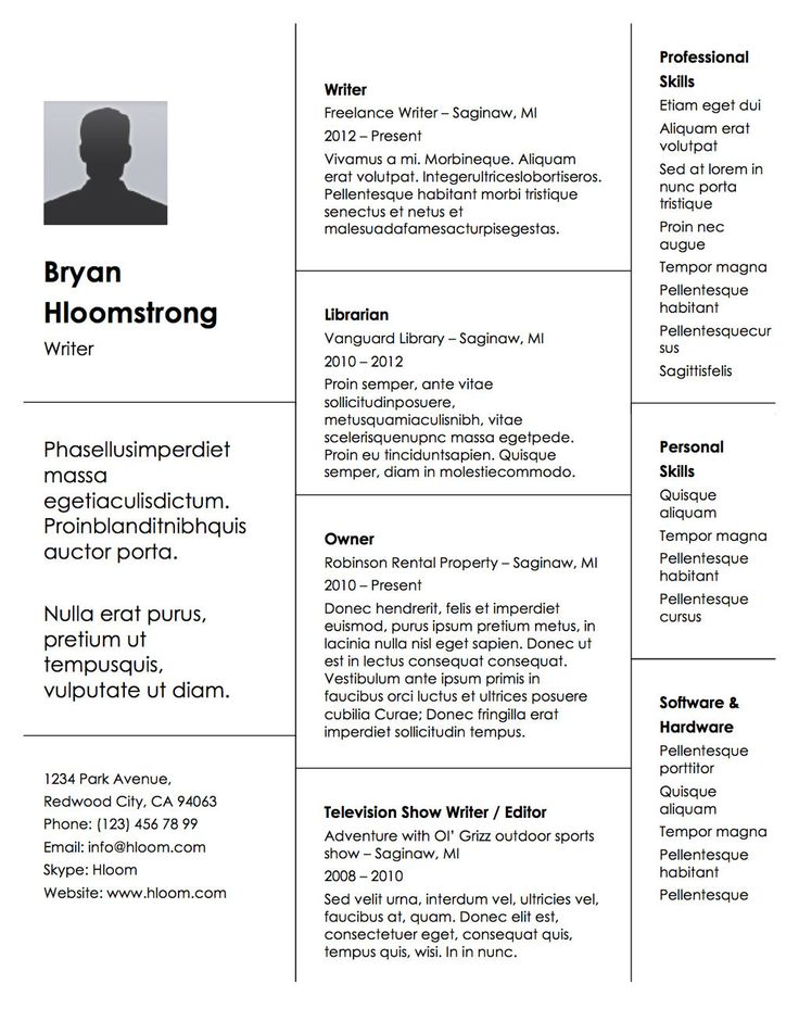 Your employment history stacked up in block form. Resume