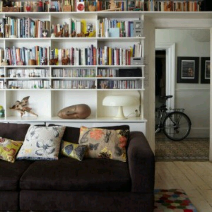 shelves behind couch organization pinterest. Black Bedroom Furniture Sets. Home Design Ideas