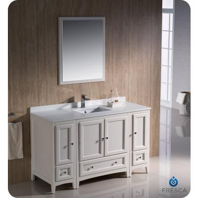 Fresca Oxford 54 Inch Antique White Traditional Bathroom Vanity With 2 Side Cabinets Home Depot Canada