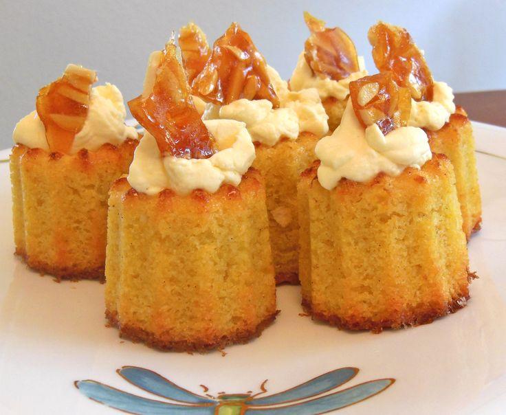 Almond, polenta and lemon cakes with shards of almond praline