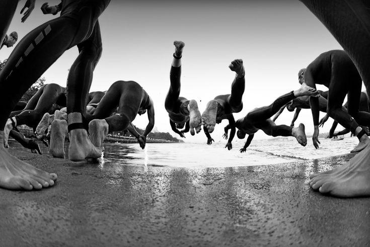 NYC Triathlon Elite Swim Start in the Hudson   by Rich Cruse