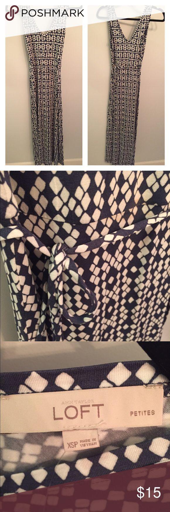 LOFT Cotton Maxi Dress NWT! Cotton Maxi dress in fun navy and white pattern. LOFT Dresses Maxi