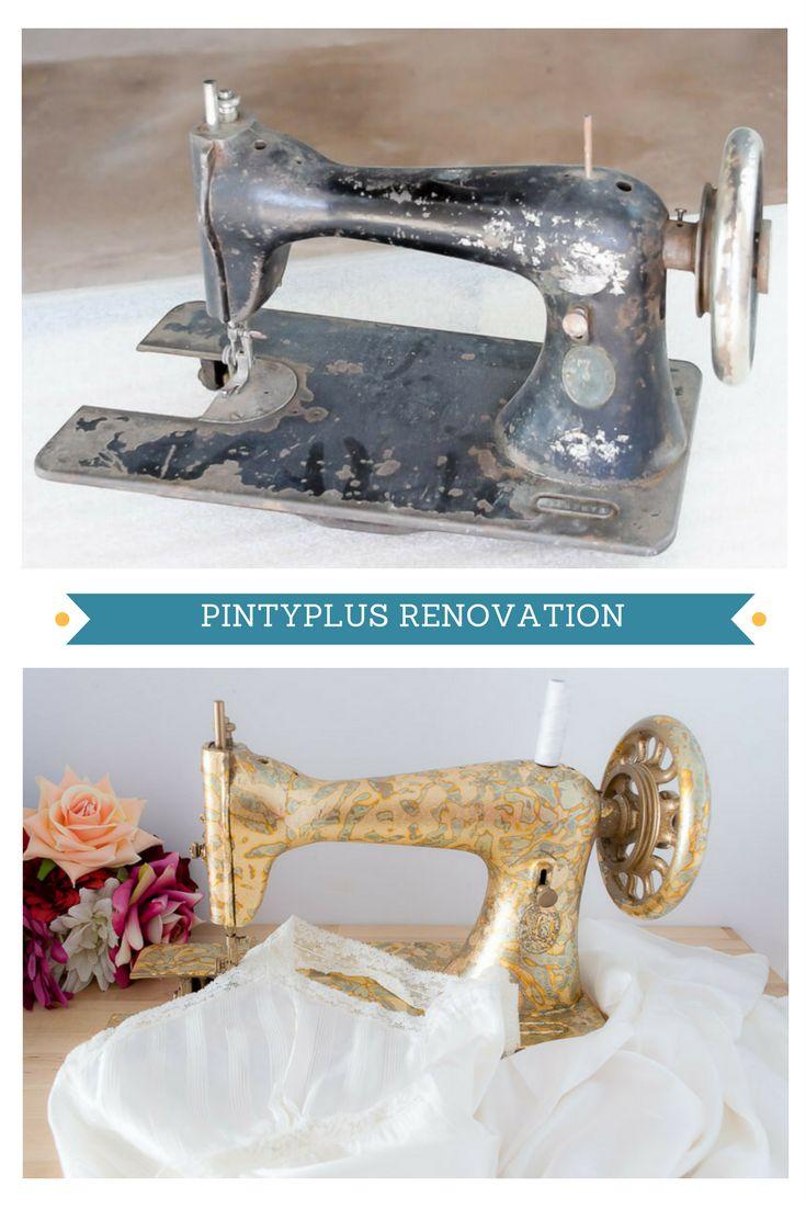 Antes y después de decorar una máquina de coser antigua con pan de oro y adhesivo en spray  #spraypaint #aerosolpaint #pintyplus #vintage