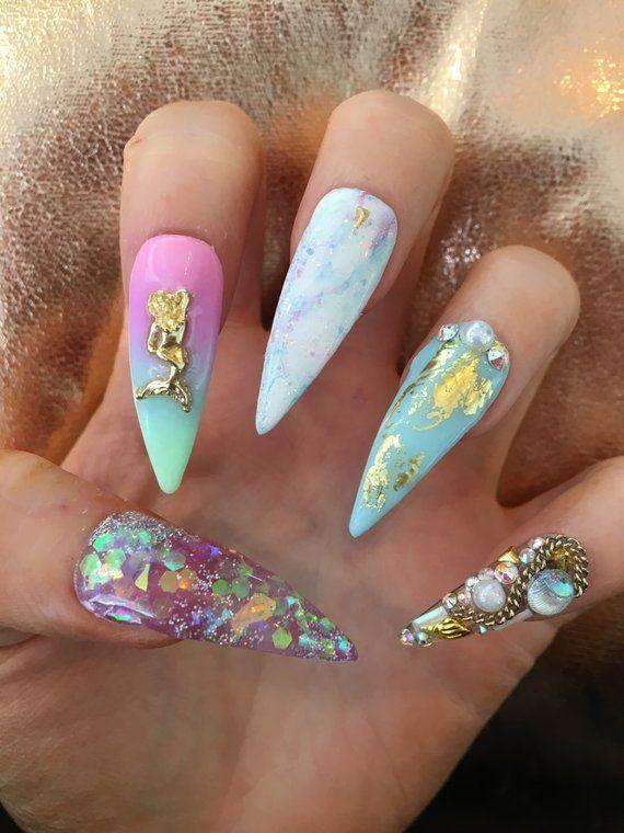 a1693824b1f MERBITCH x Mermaid False Nails Swarovski Ombré Glitter Junk ...