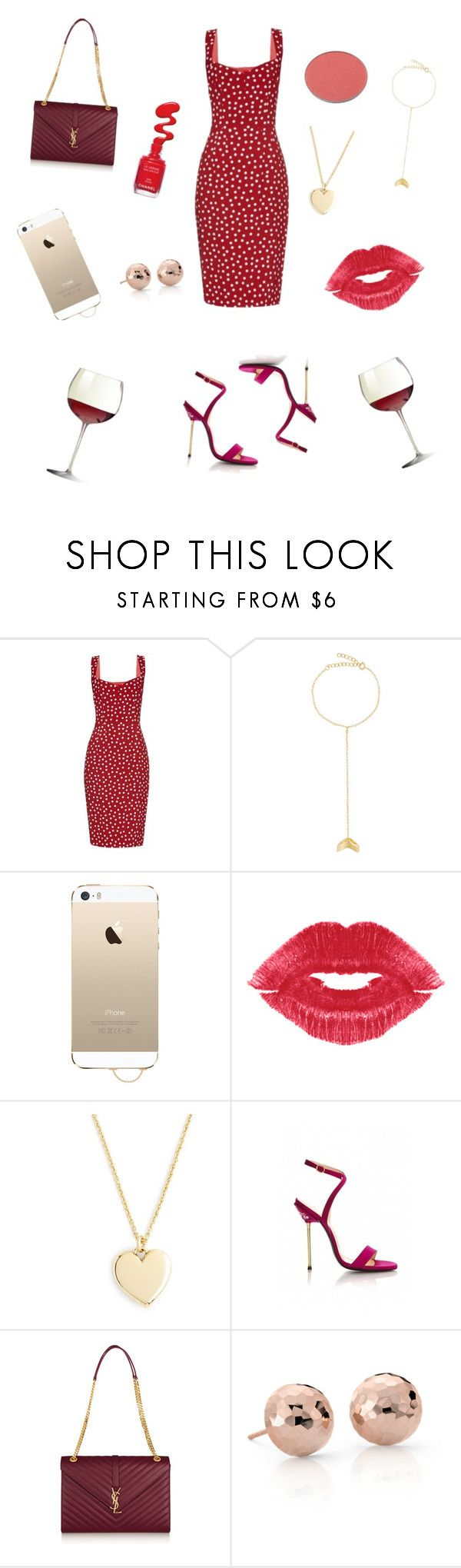"""""""Red and Gold"""" by weijin ❤ liked on Polyvore featuring Dolce&Gabbana, Arme De L'Amour, Agent 18, J.Crew, Virgos Lounge, Yves Saint Laurent, Blue Nile and Chantecaille"""
