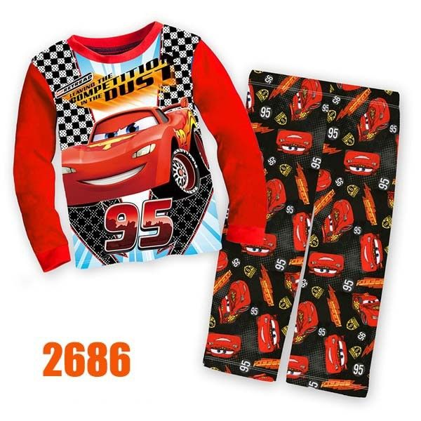 Boys Red Racing Car Clothing sets Kids 8-12Y Autumn -Summer Clothes New 2015 Wholesale Children Cartoon Pajamas Set 2686