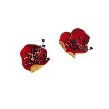 Small Poppies Earrings | 18 carat gold with red paint, Fanourakis jewelry / via Kultia Jewels