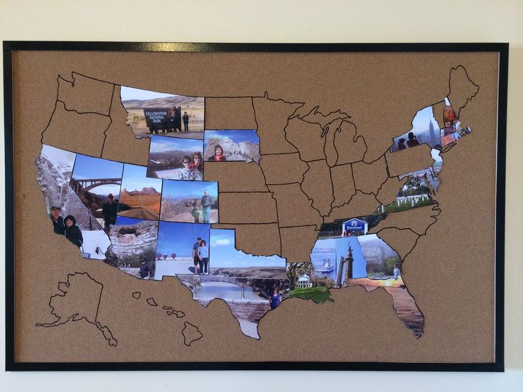Travel Memories Map. Draw a map on a cork notice board. Resize Alaska and Hawaii to fit. Print a photo for each state and cut to shape with a craft knife. Attach to board with pins or sticky dots.