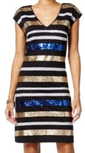 Tommy Hilfiger Womens Sequined Striped Cocktail Dress