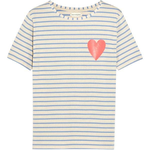 Chinti and Parker Striped organic cotton T-shirt (445 BRL) ❤ liked on Polyvore featuring tops, t-shirts, blusas, shirts, tees, neon pink t shirt, white shirt, striped shirt, t shirts ve striped t shirt