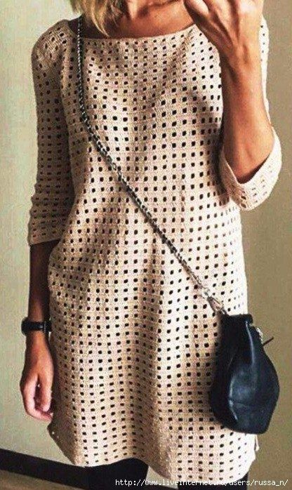 Платье-туника крючком