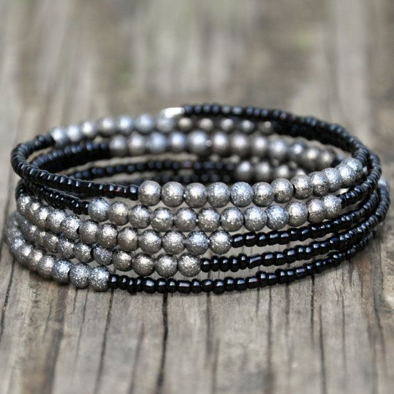 Black & Gunmetal Stardust Beaded Wrap by HoleInHerStocking on Etsy memory wire bracelet, boho jewelry, silver jewelry, gypsy