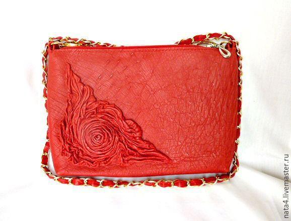 """Купить Кожаная сумочка """"Роза красная...""""3 - сумка женская, сумка из натуральной кожи"""