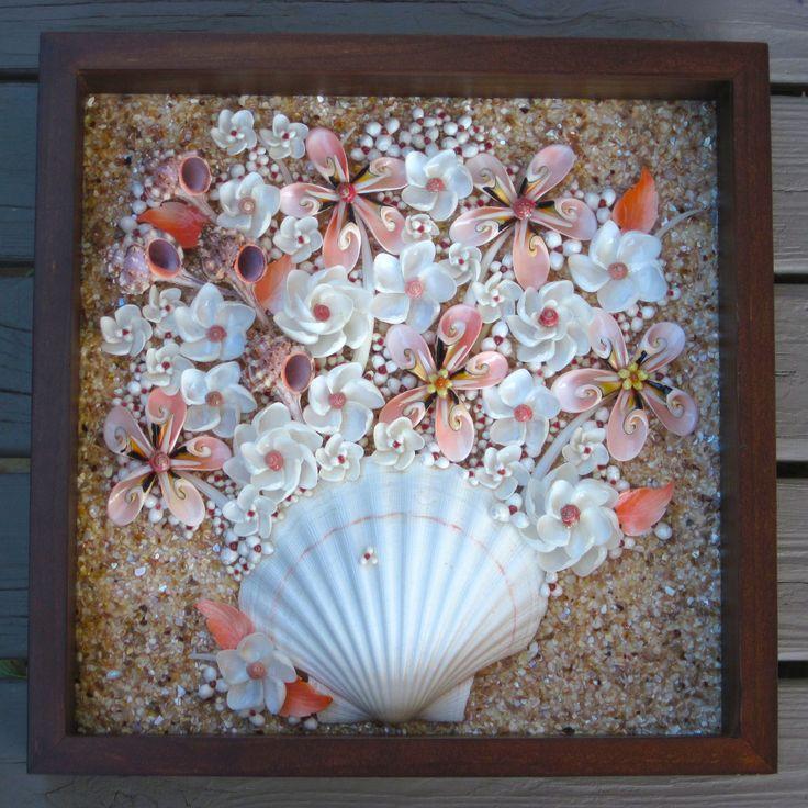 Peaches and Cream Seashell Flowers Shadow Box