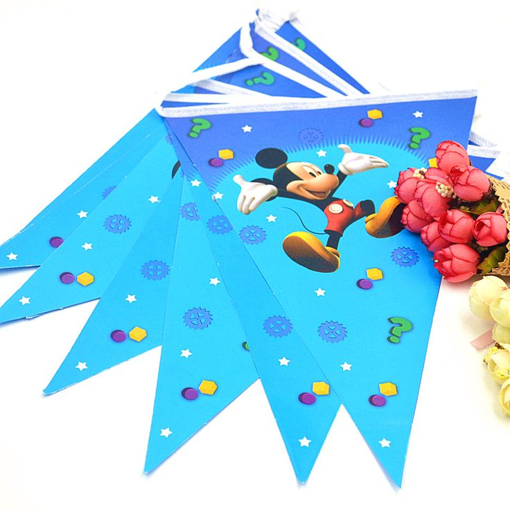 2.5m/set Mickey Mouse Banner And Flag Cartoon Theme Party For Kids Happy Birthday Decoration baby mickey mouse party supplies