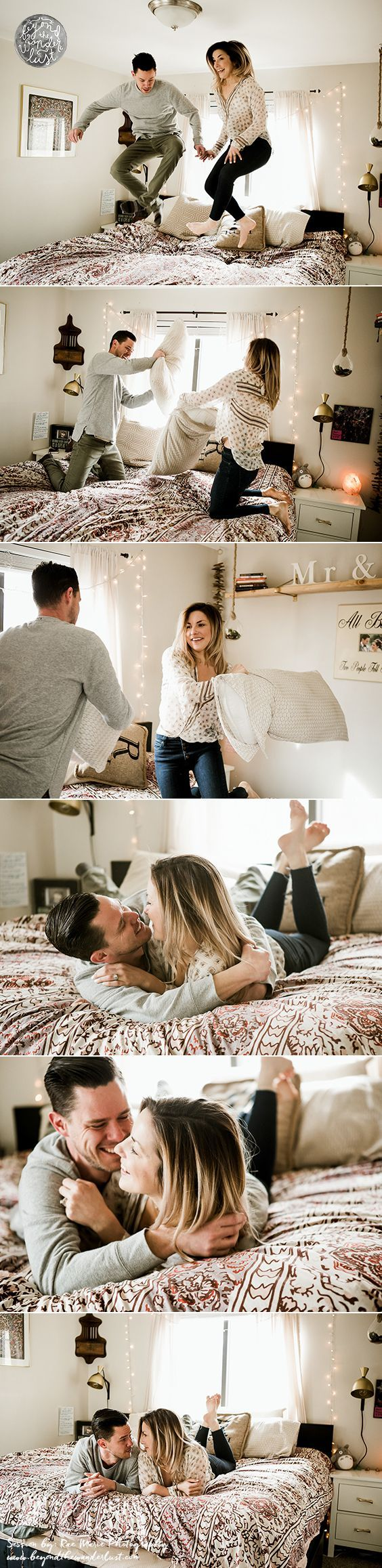 Pillow fight >> In Home Lifestyle couple session