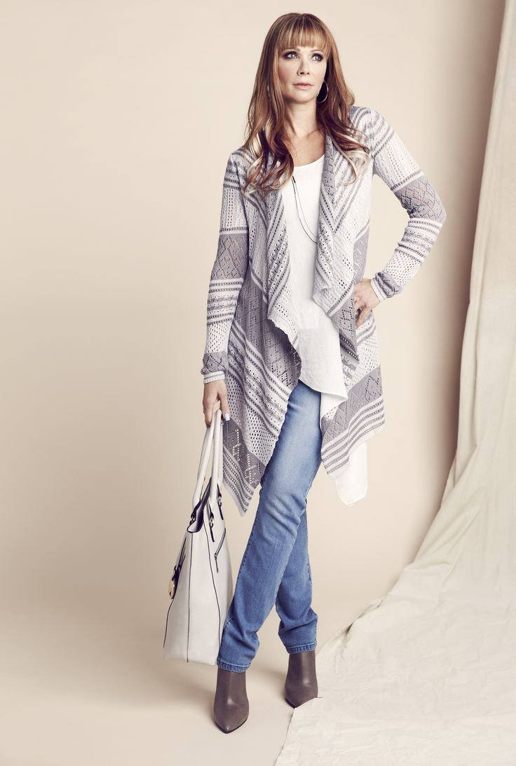 Wrap yourself up in a striped open-stitch cardigan for a casual yet elegant look. #laurenscloset