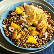Salade de lentilles et poulet au curcuma - une recette Equilibr� - Cuisine