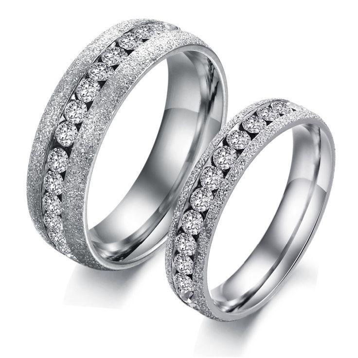 Его и ее обещание кольцо устанавливает титана стальные кольца для женщины мужчины свадьба Чешский бриллиантовые кольца ювелирные изделия заказ смешивания 12 стиль