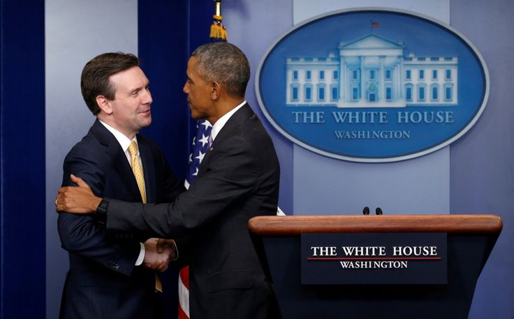 Crashes Josh Earnest's final press briefing to say thank you.