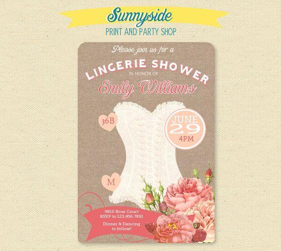 Vintage Peach & Rose Lingerie Shower Invitation - Burlap Lingerie Invite on Etsy, $14.00