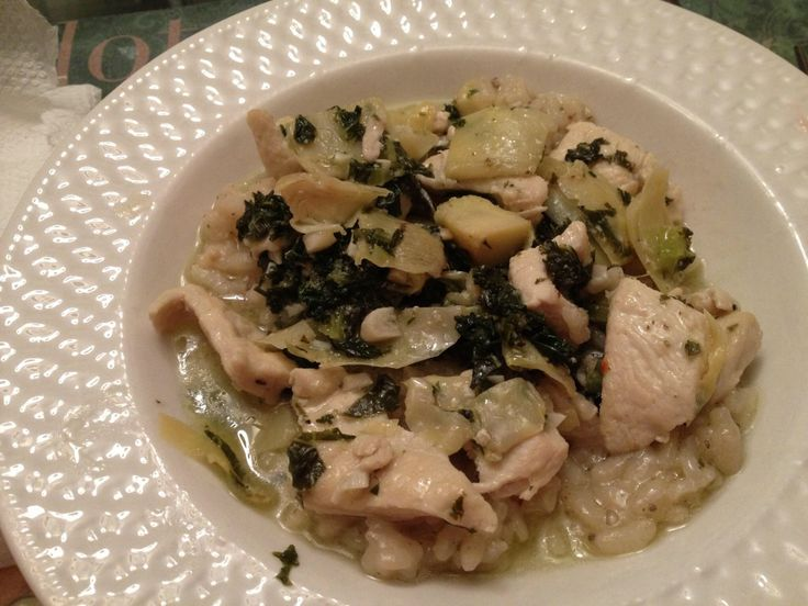 ... chicken, artichokes, kale, all cooked in a garlic lemon and rosemary