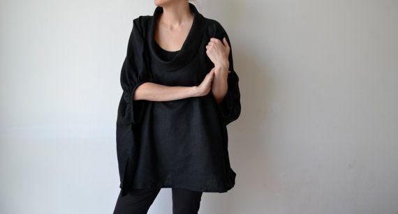 Black linen womens smock top tunic. Plus size. by MuguetMilan