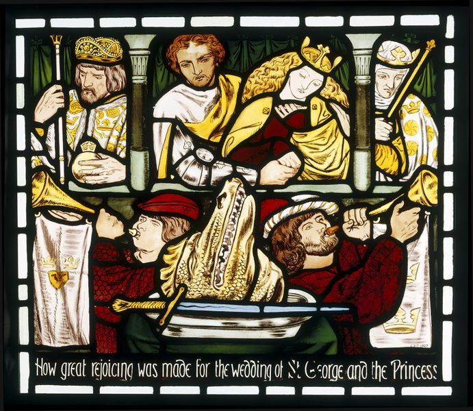 "Panel. St. George and the Dragon: St. George and the Princess with the King and Queen at a balcony. Between two trumpeters the head of the dragon on a dish with the sword of St. George. Below, an inscription: ""HOW GREAT REJOICING WAS MADE FOR THE WEDDING OF ST. GEORGE AND THE PRINCESS"".  England, 1862  Dante Gabriel Rossetti, (designer)   Morris, Marshall, Faulkner & Co. (maker)  The choice of a saintly history in the style of Medieval stained glass was not unusual in the work of Morris…"