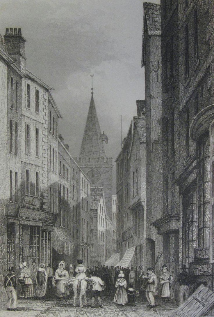 High Street, St. Peter Port 1840. Drawn by Robert Mudie.