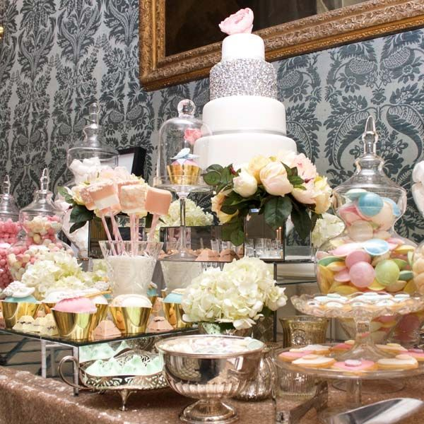 Gold and Pastels Dessert and Sweet Table