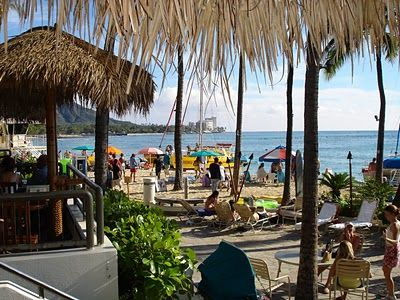 """Duke's/The Barefoot Bar - a the Hale Koa Hotel. Signature drink: the Tropical Itch. Rated one of America's top """"wet spot"""" beach bars. Duke's is known for their breakfast and lunch buffets."""