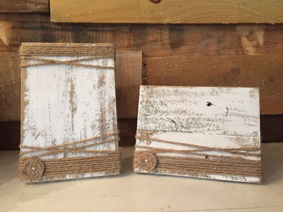 Rustic painted wood block frames with twine. Each frame measures 5.5 x 7.5 and will hold a 3x5 or 4x6 picture. Option for vertical or horizontal.  These frames come with a wooden stand attached to the back. They will not hang on the wall with this stand, it is not collapsible. If you need them to hang, just specify that in a Message when you order.  Check out my other listings for 5x7 or 8x10 frames