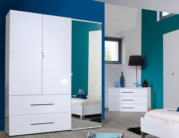 First By Sciae, Contemporary High Gloss White 3 Door Wardrobe