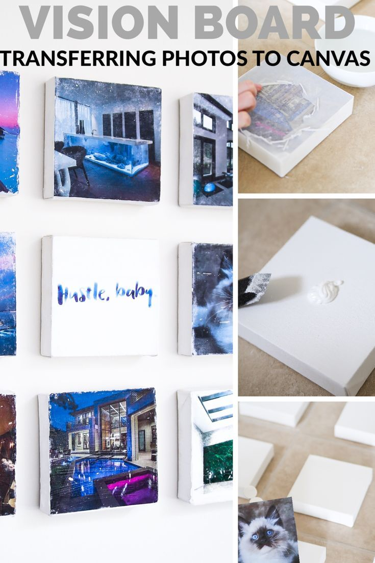 How to transfer photos to canvas for a vision board