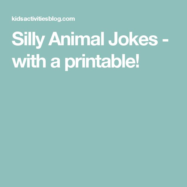 Silly Animal Jokes - with a printable!