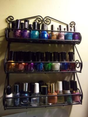 Black Metal Scroll Wall Mount Spice or Nailpolish Rack. 14