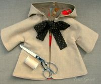 """Sewing PDF Pattern and Tutorial for Hooded Coat for 18-20"""" Doll"""