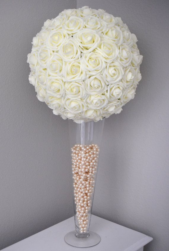 IVORY Flower Ball. Kissing Ball. Wedding by KimeeKouture on Etsy