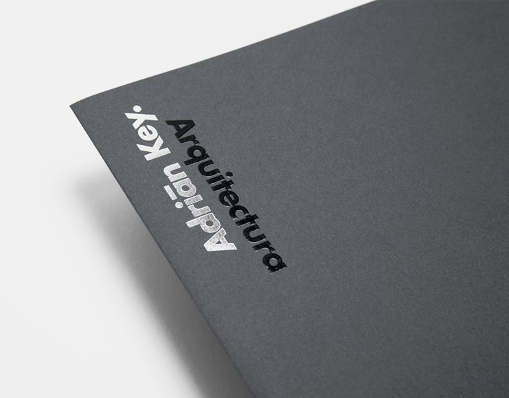Folder with thermographic ink and silver foil detail designed by Face Creative for MX architecture firm and architect Adrián Key.